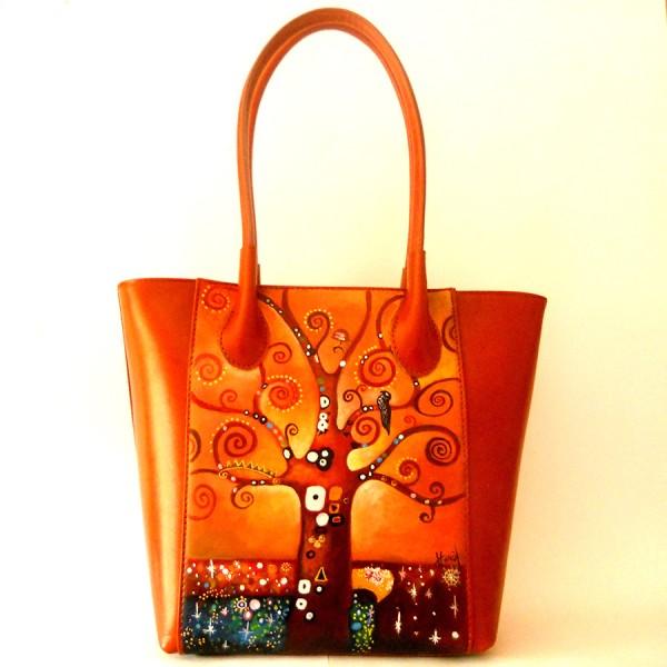 borsa dipinta a mano Klimt L'albero della vita