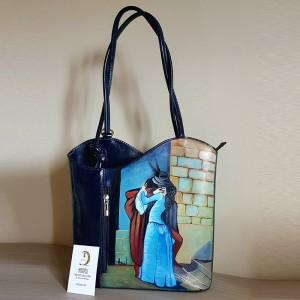 Borsa dipinta a mano, IL BACIO, HAYEZ, elegante dipinto classico su una borsa dal designe moderno.