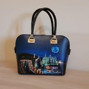 Cosenza di notte, borsa dipinta a mano, Blu notte, a mano, con tracolla interna in dotazione