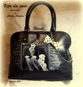 borsa in pelle dipinta a mano Charly Chaplin