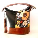 borsa in pelle dipinta a mano Miss Amelia anni 70 vintage