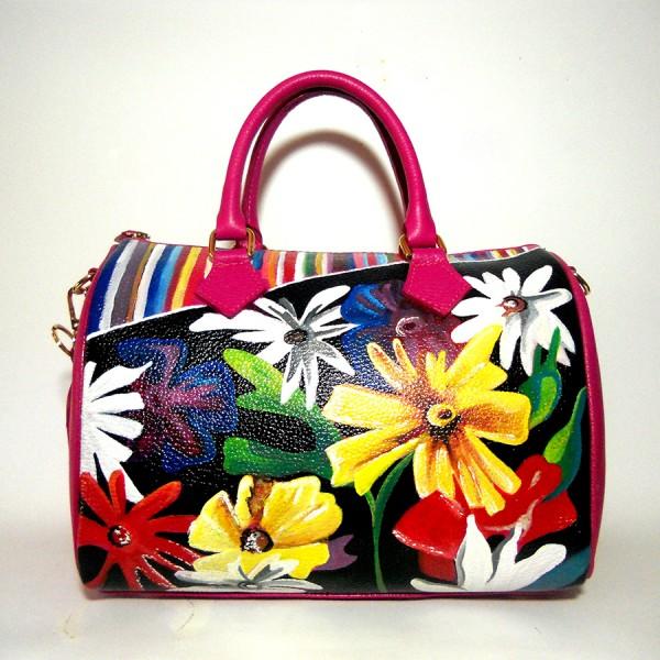 borsa in pelle dipinta a mano Miss Filomena anni 70 vintage