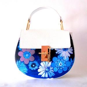 borsa in pelle dipinta a mano Miss Nadia anni 70 vintage