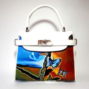 borsa in pelle dipinta a mano PAESAGGIO CON FARFALLE DALì