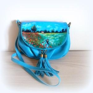 borsa in pelle dipinta a mano campo di papaveri monet blu