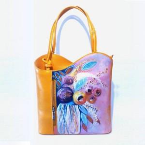borsa in pelle dipinta a mano e portafogli in pelle dipinto a mano Flora