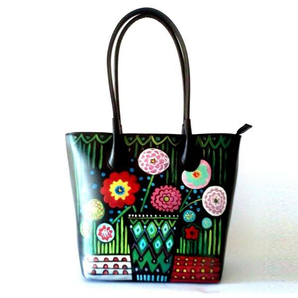borsa in pelle dipinta a mano e portafogli in pelle dipinto a mano carlotta