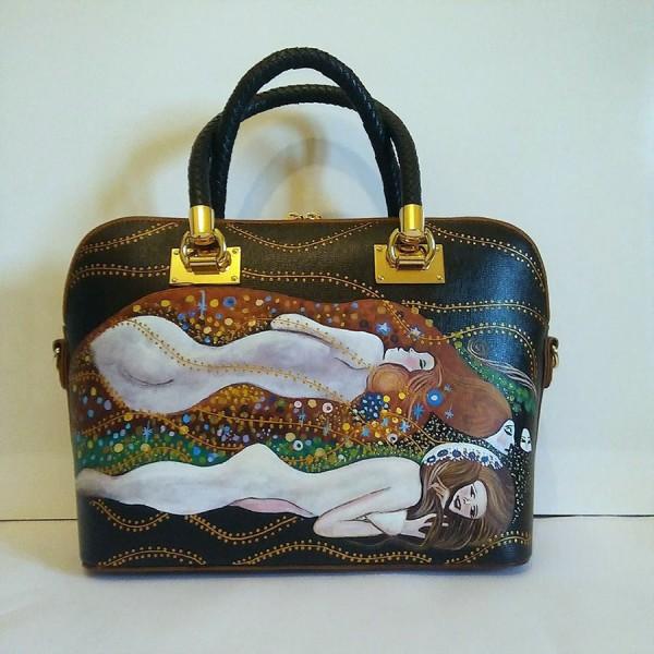 borsa in pelle dipinta a mano serpenti d'acqua Klimt