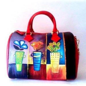 borsa in pelle dipinto a mano Coktail di fiori