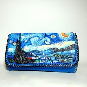 borsa pochette dipinta a mano LE NINFEE lilla Monet