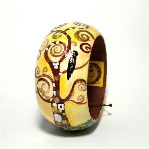 bracciale in legno dipinto a mano Albero della vita Klimt
