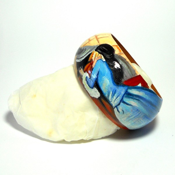 bracciale in legno dipinto a mano Il Bacio Hayez 2