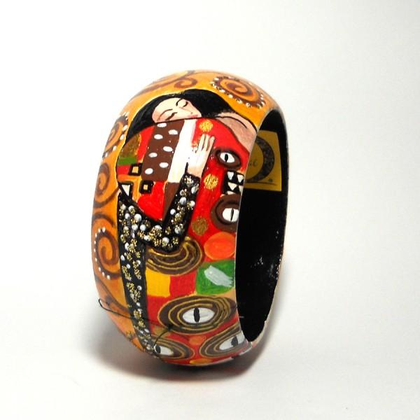 bracciale in legno dipinto a mano L abbraccio Klimt