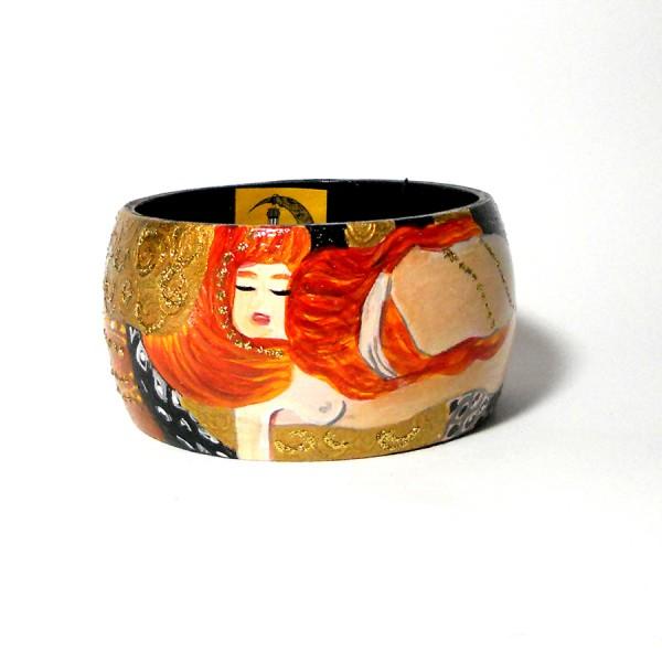 bracciale in legno dipinto a mano Serpenti d'acqua Klimt