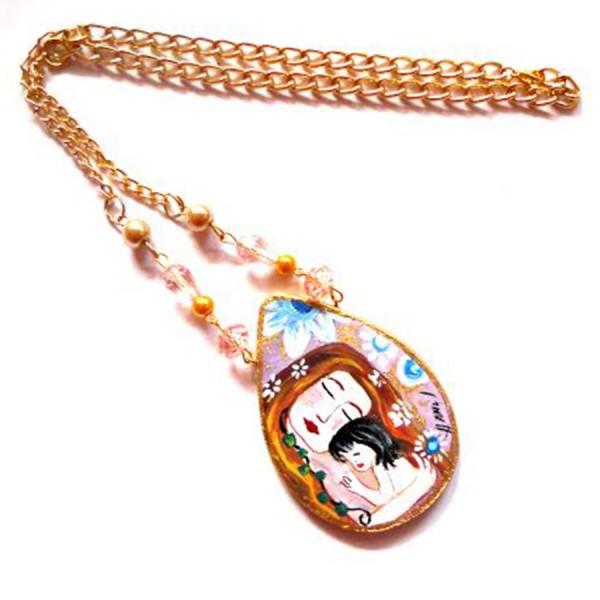 collana in legno dipinta a mano la maternità Klimt