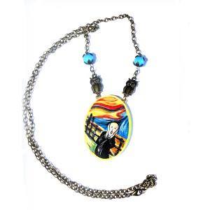 collana in legno dipinto a mano l'urlo Munch