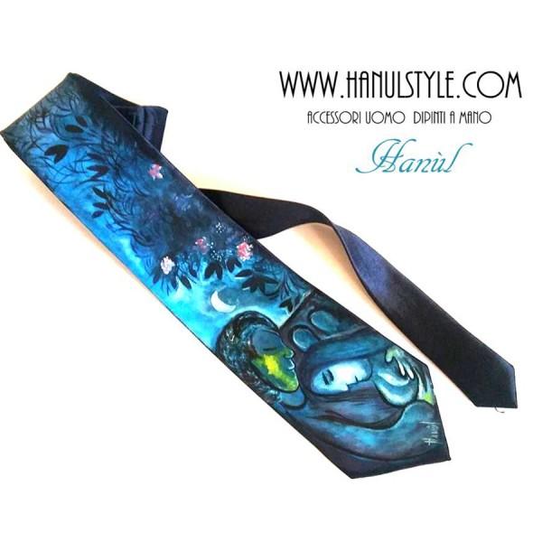 cravatta dipinta a mano Innamorati Chagall 2