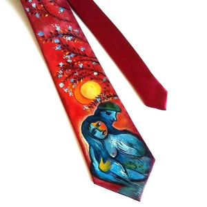 cravatta dipinta a mano amorei Chagall