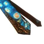 cravatta dipinta a mano la notte stellata Van gogh