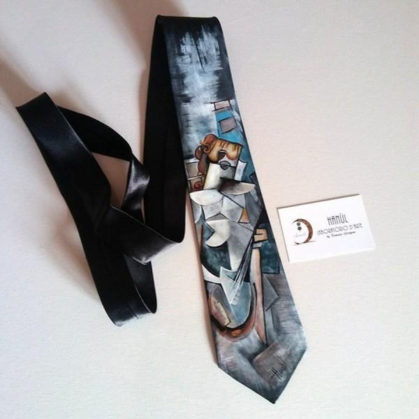 cravatta dipinta a mano picasso 2
