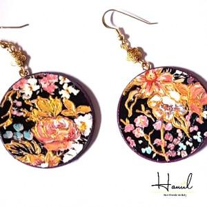 Orecchini tondi dipinti a mano,ROSE Per avere portachiavi, o collana o qualsiasi altro accessorio personalizzato scrivi pure a dg.hanul@gmail.com