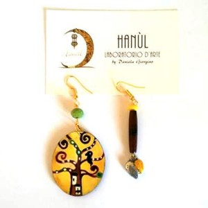 orecchini dipinti a mano albero della vita klimt