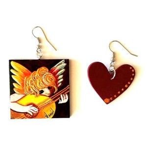 orecchini dipinti a mano amorino musicante di Rosso fiorentino