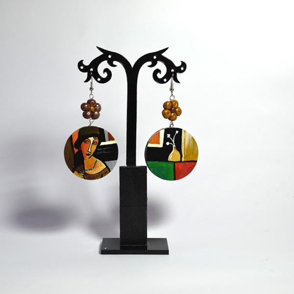 orecchini in legno dipinti a mano