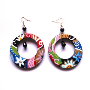 orecchini in legno dipinti a mano HEMIR