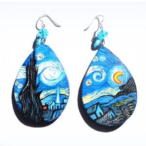 orecchini in legno dipinti a mano La notte stellata Van Gogh