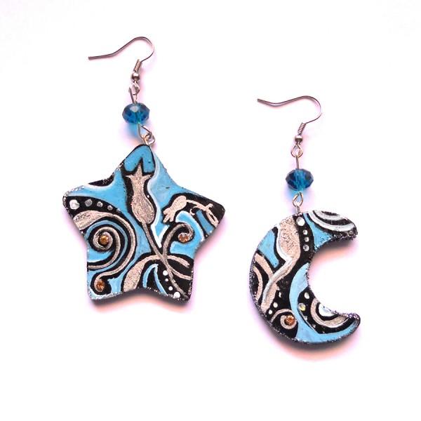 orecchini in legno dipinti a mano Luna blu
