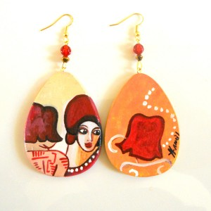 orecchini in legno dipinto a mano LES AMIES DI TAMARA DE LEMPICKA
