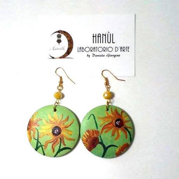 orecchini in legno dipinto a mano girasoli van gogh