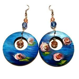 orecchini in legno dipinto a mano ninfee monet