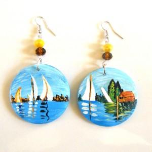 orecchini in legno dipinto a mano regata ad ARGENTEUILLE monet 2