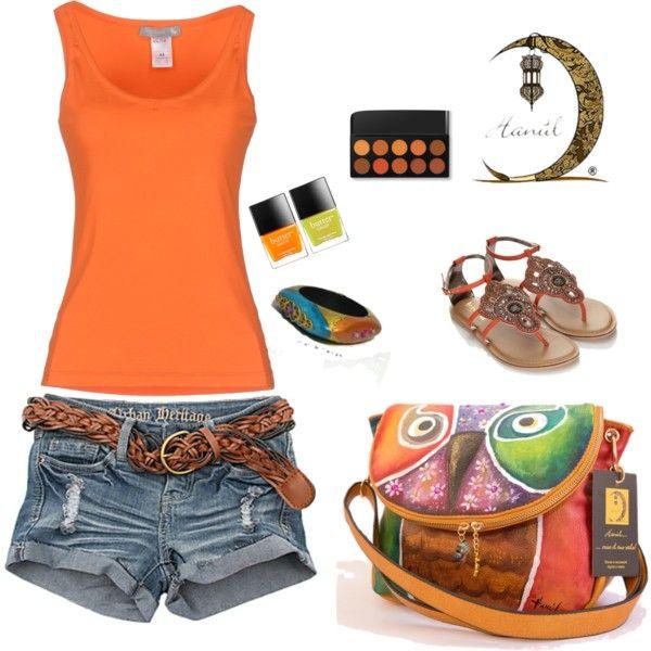 outfits borsa dipinta e bracciale dipinto estate