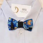 Papillon in legno dipinto a mano, Notte Stellata, Van Gogh per rendere unici i vostri accessori!