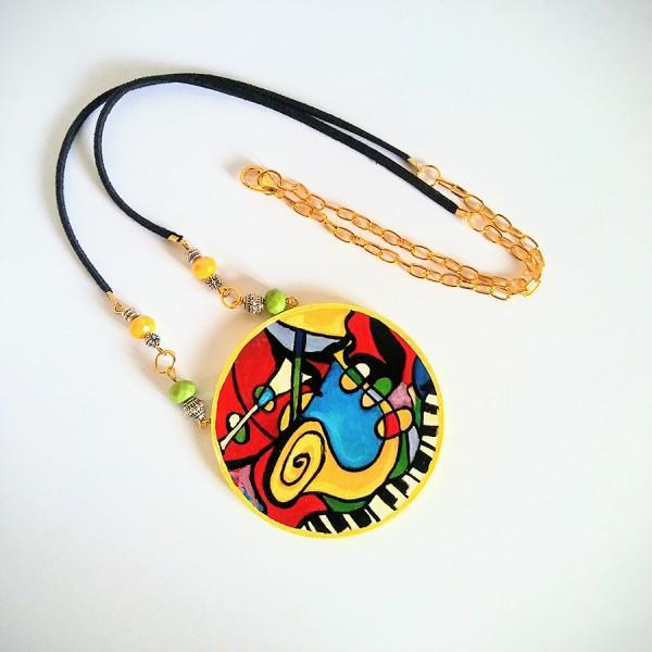 pendente collana in legno dipinto a mano le cinque poesie picasso