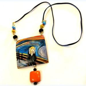 pendente collana in legno dipinto a mano l'urlo munch