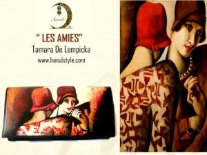 po05 Portafoglio dipinto a mano - Les Amies -Tamara De Lempcka