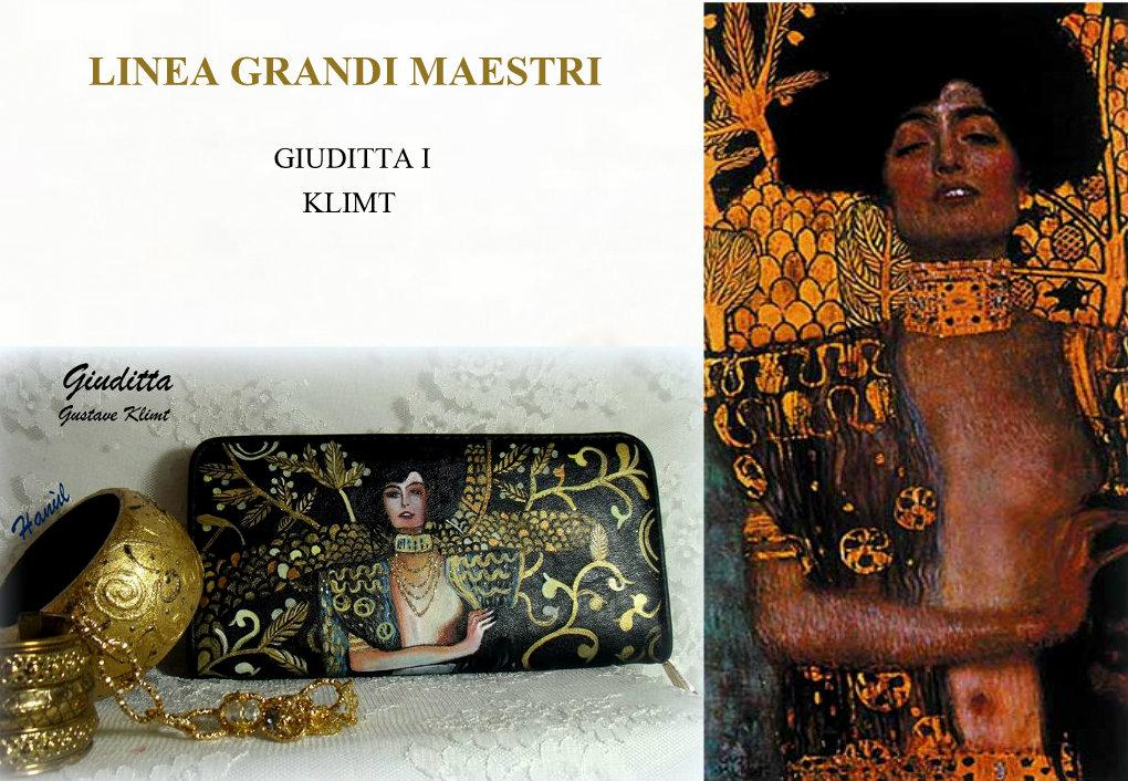 po14 Portafoglio dipinto a mano - Giuditta - Klimt