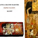 po16 Portafoglio dipinto a mano - Expectation - Klimt