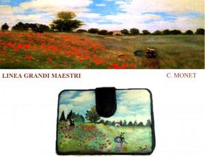 po19 Portafoglio dipinto a mano - Campo di papaveri - Monet