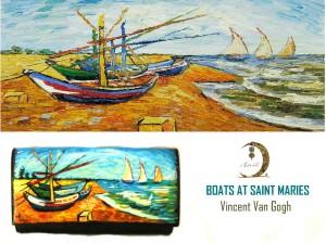 po20 Portafoglio dipinto a mano - Boats at Saint Maries - Van Gogh