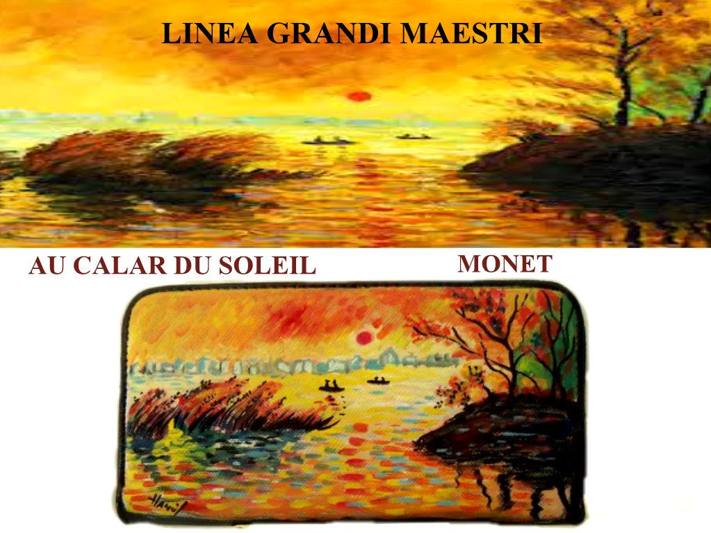 po22 Portafoglio dipinto a mano - Au calar du soleil - Monet