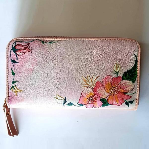 portafoglio dipinto a mano rosa