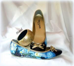 Sc03 scarpe dipinte a mano, La notte stellata -Van Gogh