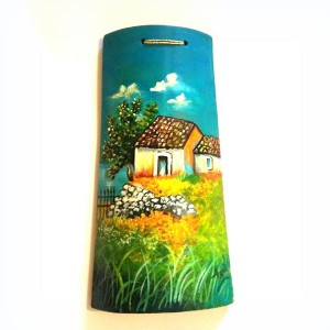 tegola dipinta a mano casette rurali con muro a secco